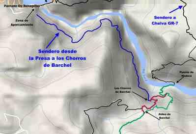 Mapa del camino a Barchel y los Chorros de Barchel