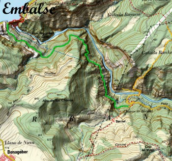 Mapa del camino Presa Embalse Barchel a los Chorros de Barchel